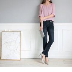 0919新品 復古美型~嚴選韓版藍黑仿舊小喇叭牛仔褲