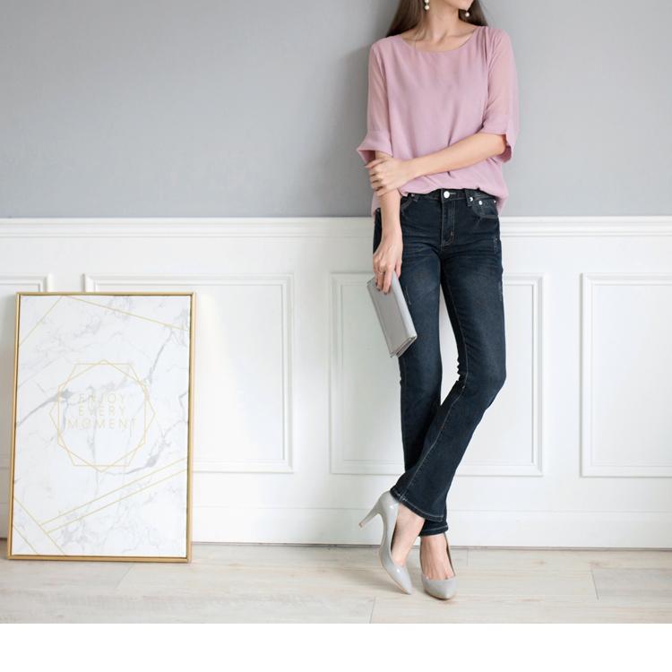 韓版藍黑復古小喇叭牛仔褲