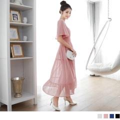 0420新品 浪漫無限~素色雪紡方領荷葉袖高腰長版洋裝.3色
