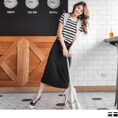 0623新品 假兩件式素色X條紋長洋裝.2色