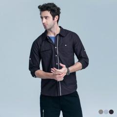 撞色線條設計反摺袖襯衫‧3色