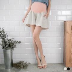 舒適棉麻傘擺孕婦短褲‧2色