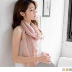 素面拼接鏤空花蕾絲造型圍巾.3色