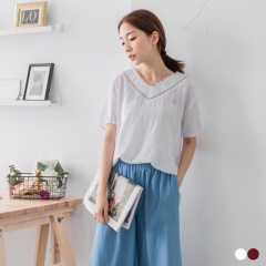 彩色編織壓紋面料V領上衣.2色