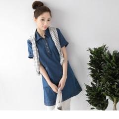 0623新品 開襟襯衫領設計牛仔長版上衣/洋裝
