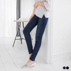 0218新品 3D立體雪花丹寧彈性腰圍窄管褲.2色