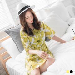 【春夏斷碼♥2件55折】花朵圖樣五分袖圓領高腰洋裝.2色