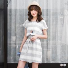 【春夏斷碼♥2件55折】寬橫條紋配色腰鬆緊綁帶圓領洋裝.2色