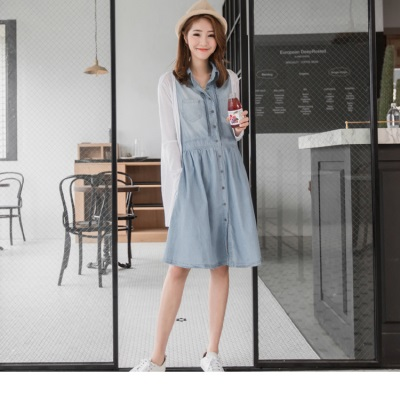 0616新品 立體直紋造型雙口袋無袖背心牛仔洋裝