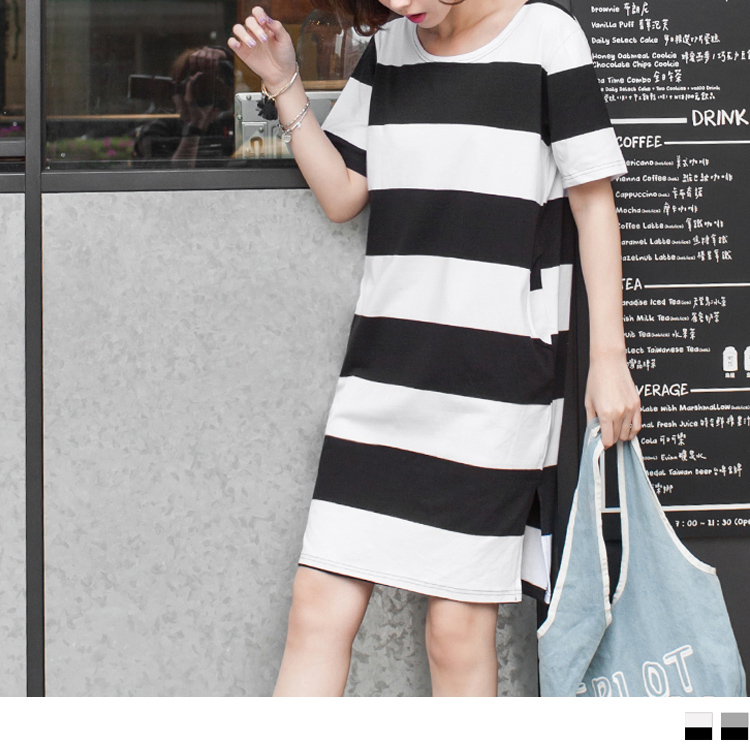 基本款條紋X側開衩設計洋裝.2色