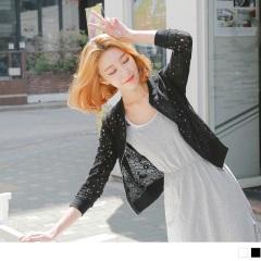 0421新品 素色蕾絲花鏤空羅紋領外套.2色