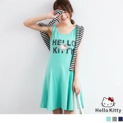 經典HELLO KITTY斑駁印圖傘狀背心洋裝.3色