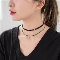 0210新品 麂皮繩雙層釘珍珠頸鏈