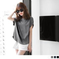 0619新品 素色質感打褶造型寬鬆圓領短袖上衣.4色