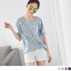 0614新品 竹節棉設計感印花圓領寬鬆短袖上衣.3色