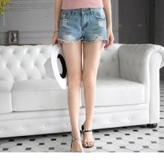 0522新品 個性破損感刷色抽鬚牛仔短褲