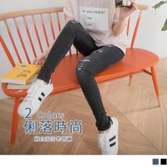 0816新品 破損設計刷白仿牛仔鬆緊窄管褲.2色