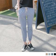 【LINE限定】腰圍抽繩設計素色寬鬆男友風縮口長褲.4色