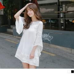 0515新品 素色蕾絲鏤空拼接不規則傘襬7分袖洋裝.2色