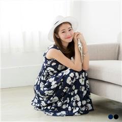【春夏斷碼♥2件55折】蕾絲花邊平口碎花荷葉邊袖高腰長洋裝.2色