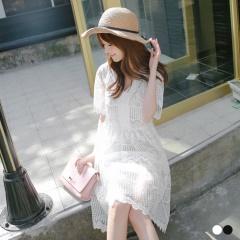 0605新品 蕾絲點點葉子透膚V領五分袖洋裝.2色