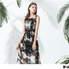 條紋/絢爛印花鬆緊腰圍長洋裝.2色