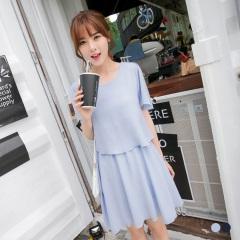 【春夏斷碼♥2件55折】素雅壓紋面料荷葉邊袖層次圓領洋裝.2色