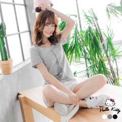 【春夏斷碼♥2件55折】KITTY豹紋艾菲爾鐵塔印圖前短後長上衣.3色