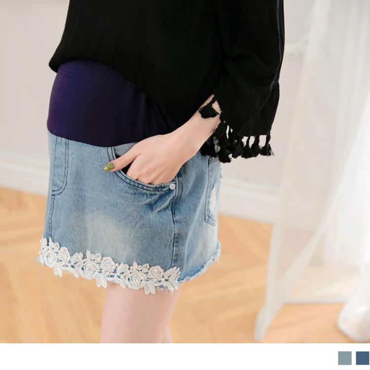 珍珠蕾絲拼接造型孕婦牛仔裙‧2色