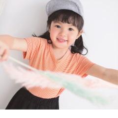 【週年慶♥童裝殺99】棉質橫條紋V領短袖上衣‧童1色