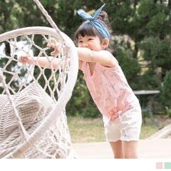 【週年慶♥童裝殺99】紅鶴印花綁帶造型無袖上衣‧童2色
