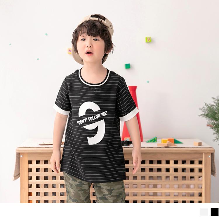 橫條紋美式燙印反摺袖長版上衣.童2色