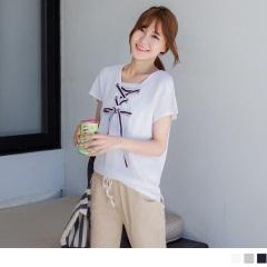 0621新品 領口綁帶設計X純色假兩件式上衣.3色