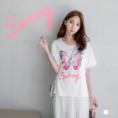 【春夏斷碼♥2件55折】繽紛花蝴蝶珠珠綴圓領短袖上衣.2色