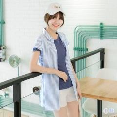 【春夏斷碼♥2件55折】直條紋傘襬造型短袖襯衫/小外套.2色