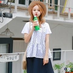【春夏斷碼♥2件55折】假兩件圖騰印花馬甲傘擺短袖上衣.2色