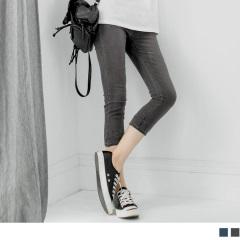 0803新品 仿牛仔雪花反折蕾絲七分褲.2色