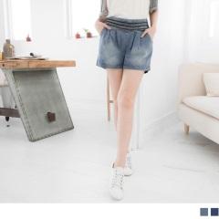 【百搭單品♥現折50】金屬拉鍊造型打摺刷色牛仔短褲‧2色