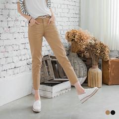 0621新品 附蕾絲皮帶素色水洗直筒九分褲.4色