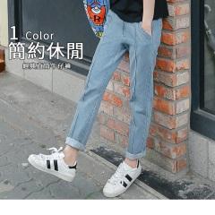 0623新品 褲管抽鬚中縫線直筒牛仔褲