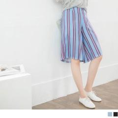 直條紋撞色修身七分寬褲‧2色