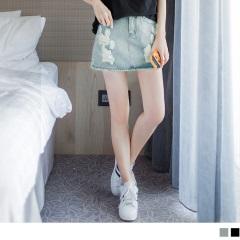 0613新品 個性抓破牛仔短褲裙.2色