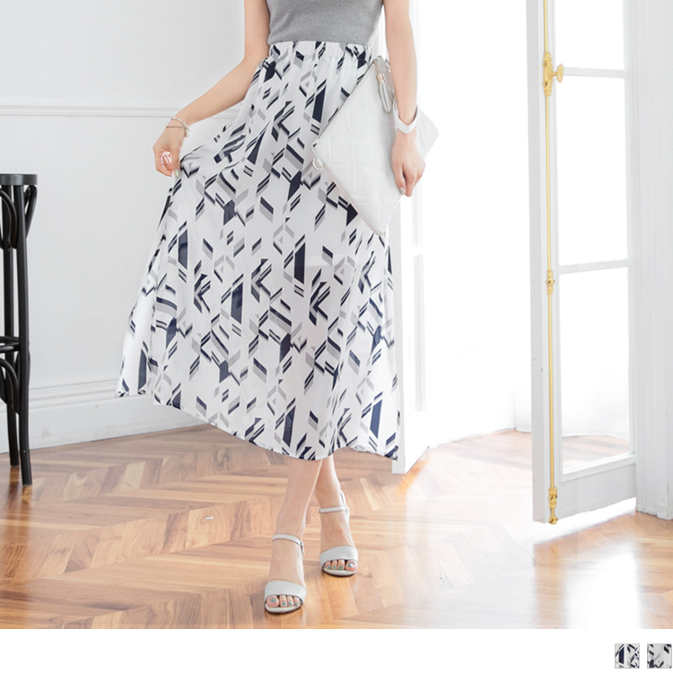 幾何圖形印花側開衩雪紡腰鬆緊長裙.2色