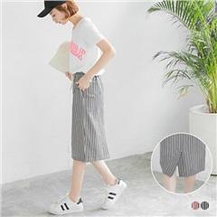 【春夏斷碼♥2件55折】撞色條紋設計腰抽繩及膝裙.2色