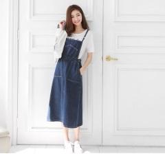 0623新品 造型大口袋吊帶牛仔A字長裙