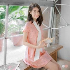 附領巾配色方格圓領短袖寬鬆洋裝.2色