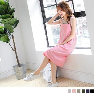 0505新品 素色雙肩帶多口袋寬襬吊帶長裙.6色
