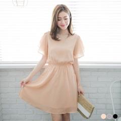 小V領縮腰荷葉袖純色雪紡洋裝.3色