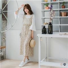 【春夏斷碼♥2件55折】小碎花細肩帶排釦綁帶棉感長洋裝.2色