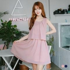 素色壓紋打褶層次造型無袖寬鬆洋裝.2色